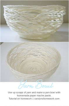 Etceteras: yarn bowl Paper Mache Yarn Bowl via homework Paper Mache Paste, Paper Mache Bowls, Paper Mache Diy, Paper Plates, Paper Mache Balloon, Yarn Crafts, Kids Crafts, Arts And Crafts, Diy Paper