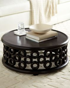 Horchow Belmar Coffee Table Unusual Circular Has A Hand Carved Border Of Mod Circles Mango Wood With Lied Dark