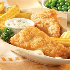 HEALTHY FISH & CHIPS WITH TARTARE SAUCE: http://interestingfoodrecipes.com/healthy-fish-chips-with-tartare-sauce/