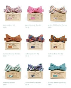 eclectic bow ties - material swatch on outside of box is a great touch.