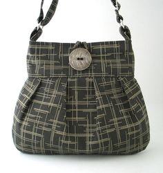 women tote bag -black  messenger bag - fabric handbag- stylish diaper bag - tapestry purse- cross body bag
