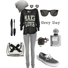 """Grey Day"" Cute to pair a girly purse with this. Must wear with red lipstick and Toms instead of Vans!!"