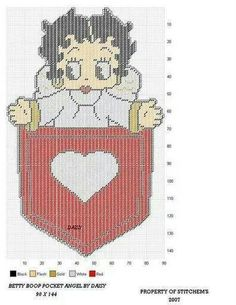 BETTY BOOP POCKET ANGEL by DAISY*STITCHEMS -- WALL HANGING