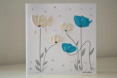 Carte peinte à la main fleurs ivoire turquoise - Carte Mariage Anniversaire unique - Carte d'Art peinte à la main - : Cartes par antonella-creation