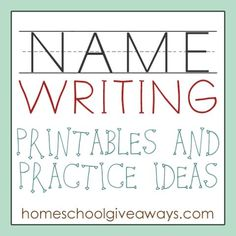 FREE Name Writing Printables and Practice Ideas Free Homeschool Deals © Name Writing Activities, Name Writing Practice, Preschool Literacy, Kindergarten Writing, Preschool Lessons, Preschool Ideas, Preschool Projects, Sentence Writing, Educational Activities