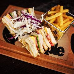 Ultimate club sandiwich - chicken, cheese, ham and salad between layers of toasted white bread. Sharing Platters, Half Board, Pizza And More, Relaxing Holidays, Greek Dishes, Snack Bar, White Bread, Rhodes, Ham