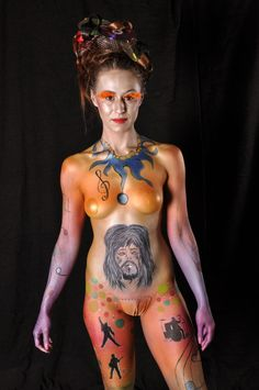 Entry 13 of the full body competition for the 2013 Gibraltar body paint festival 3rd place winner