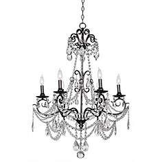 Vienna Full Spectrum Crystal 6-Light Black Nickel Chandelier
