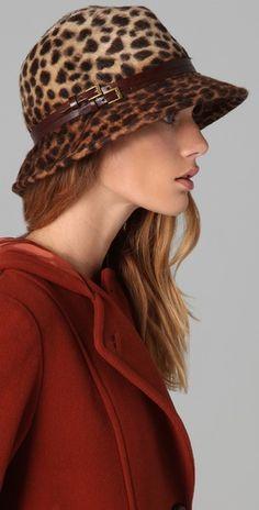 cheetah-print angora-felt hat