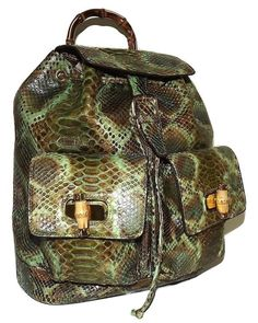 Snakeskin Backpack from Renero Italia is crafted from genuine hand-stained python snakeskin with interior leather calfskin lining. Briefcase, Italian Leather, Fashion Handbags, Python, Snake Skin, Drawstring Backpack, Fendi, Traveling By Yourself, Backpacks