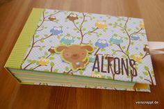 Mini-Album-Minialbum-Baby-Babyalbum-Junge-Boy-Kuverts-Briefumschläge-Eulen-Hund-Doodlebug-Design-Verschluss