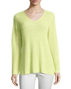 Long-Sleeve+Organic+Linen+V-Neck+Top+by+Eileen+Fisher+at+Neiman+Marcus.