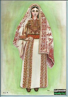 """Palestinian Traditional costume in artwork"" This facebook album has drawings of the different styles of traditional Palestinian women's dress. This one is for the Ramallah region. https://www.facebook.com/media/set/?set=a.272237592862434.66948.128808107205384=1"