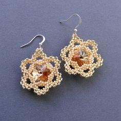 Swarovski earrings    Seed bead earrings  Flower by Anabel27shop, $18.00