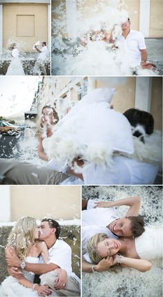 Trash the dress pillow fight!