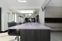 Lilac Quartz Worktop, Blanco Tap and inset Sink