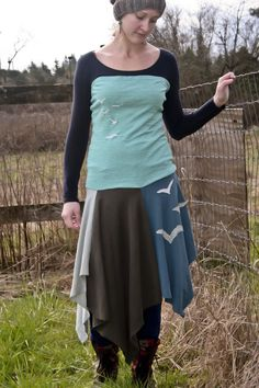 UpCycled tshirt skirt dress Birds Fly Free by trendlightly on Etsy, $40.00