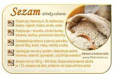 Info obrazok sezam Raw Food Recipes, Healthy Recipes, Healthy Fruits, Wellness, Natural Medicine, Organic Beauty, Detox, Planer, Food Art