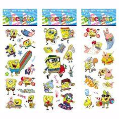 3 Blätter/Set SpongeBob Aufkleber für Kinder Wohnkultur Tagebuch Notebook Label Dekoration Spielzeug 3D Cartoon Aufkleber