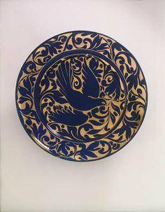 "18"" Blue Peace Platter. Cobalt 24K Gold painted by Miranda Thomas"