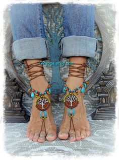 6c29598bd391 Brown Yggdrasil TREE of life BAREFOOT SANDALS Turquoise by GPyoga Bare Foot  Sandals