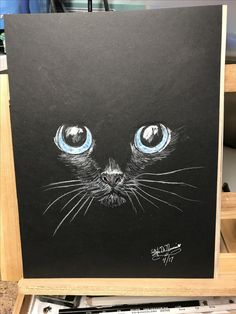 Late last night I finished drawing this kitty that will accompany the dog I sketched yesterday. The fun part of drawing on black paper, it takes very little and with just the right pressure of a white pencil in certain spots can reveal the subject in a mysterious way. Again it is important to make the eyes absolutely perfect. Practice Practice Practice..!