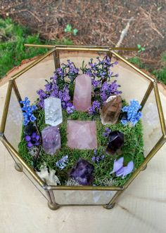 This listing is for the unbelievably charming Crystal Garden pictured above. I adore gemstones and crystals and am fascinated by their beauty and