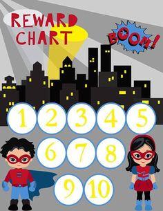 Magnetic Reward Charts - Superhero Reward Chart - Family organization - Preschool Resonsibility - Learning