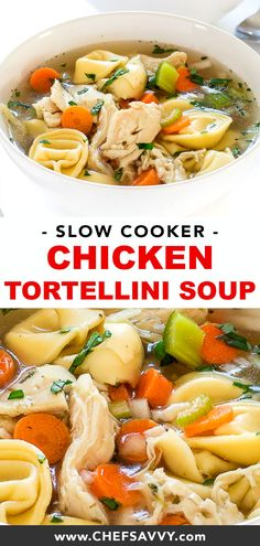 Slow Cooker Chicken Tortellini Soup cooked low and slow for 6 hours! Super comforting, healthy and perfect for the chilly weather in fall and winter! Try replacing the chicken with leftover Thanksgiving turkey! Slow Cooker Huhn, Slow Cooker Soup, Slow Cooker Chicken, Healthy Crockpot Recipes, Slow Cooker Recipes, Healthy Dinner Recipes, Healthy Recipes With Chicken, Slow Cooker Dinners, Healthy Fall Soups