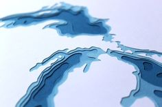 Papercut Topographic Map
