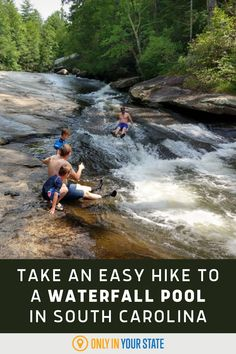Take a short and easy hike to a beautiful waterfall swimming hole in South Carolina. It's the perfect natural pool for family-friendly summer fun. Summer Travel, Summer Fun, Hidden Beach, Swimming Holes, Beautiful Waterfalls, South Carolina, State Parks, Travel Destinations, Road Trip