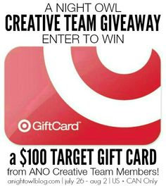 Enter for a chance to win a Target Gift Card! Giveaway ends Sunday, August 2nd, 2015