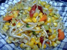 Tumis jagung bin toge Indonesian Food, Indonesian Recipes, Baked Vegetables, Bean Sprouts, Macaroni And Cheese, Breakfast Recipes, Spicy, Beans, Food And Drink