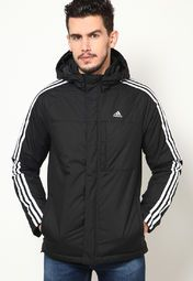 4891ed4d3729 stylish   sporty look wearing this black colored jacket from Adidas with  blue jeans and sneakers. Featuring white stripes on the sleeves