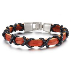 STAINLESS STEEL COWBOY LEATHER MEN'S BRACELET