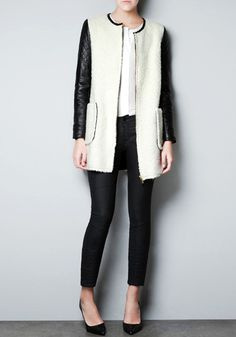 Quilted PU Sleeves Coat