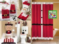 Banheiro decorado na noite de natal. A galerinha vai adorar.