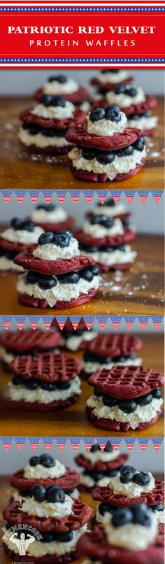 Looking to show your patriotism while staying full with a protein-packed breakfast? These patriotic #protein waffles are the answer! #JulyFourth #weightloss #recipes