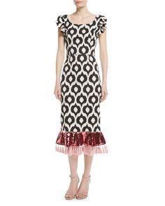 a34b32dd20ec Scoop-Neck Batik Sequin Tassel Cocktail Dress Short Sleeve Dresses, Short  Sleeves, Batik