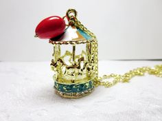 sale Carousel Necklace Tiny red heart  by BeautyJewelryGifts