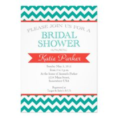 Coral and  turquoise Couples Bridal Shower Invite