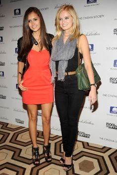 Besties Nina Dobrev and Sara Paxton share a smile. Business Casual Dresses, Business Attire, Sara Paxton, Ian And Nina, Katherine Pierce, Love Her Style, Nina Dobrev, Best Actress, Chic Outfits