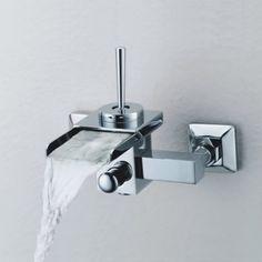 Single Handle Wall-Mount Waterfall Bathroom Sink Faucet or Bathtub Faucet (T0510_1W)