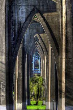 Looking thru St. John's Bridge's in Cathedral Park, Portland, Oregon