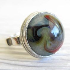 Glass cremation sterling silver ring with heart by LockedInArt