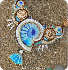 Елена Ноэль (ElenNoel) Морское колье с голубыми аммонитами. Влюбленная в море