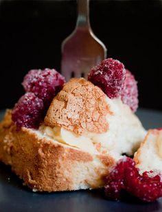 angel food cake with sugared raspberries. yum!    #food