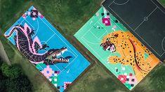 Faatimah Mohamed-Luke and Karabo Moletsane re-design Zoo Lake basketball courts. Nike Basketball, Basketball Court, Picnic Blanket, Outdoor Blanket, Local Artists, Poppies, Beach Mat, Africa, Urban