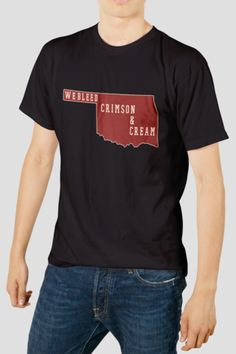 OU Solid Crimson We Bleed Crimson and Cream Men's T-Shirt