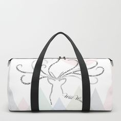 Perfect for the Winter Season I Abstract typographic reindeer silhouette sending greetings from his beautiful antlers to celebrate the Winter Season I Duffle bag I